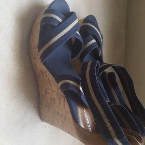 Target Merona Wedge Sandals Blue Stripe As 10